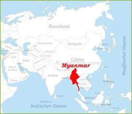 Myanmar auf der karte Asiens