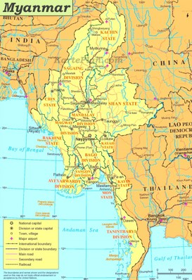Myanmar politische karte