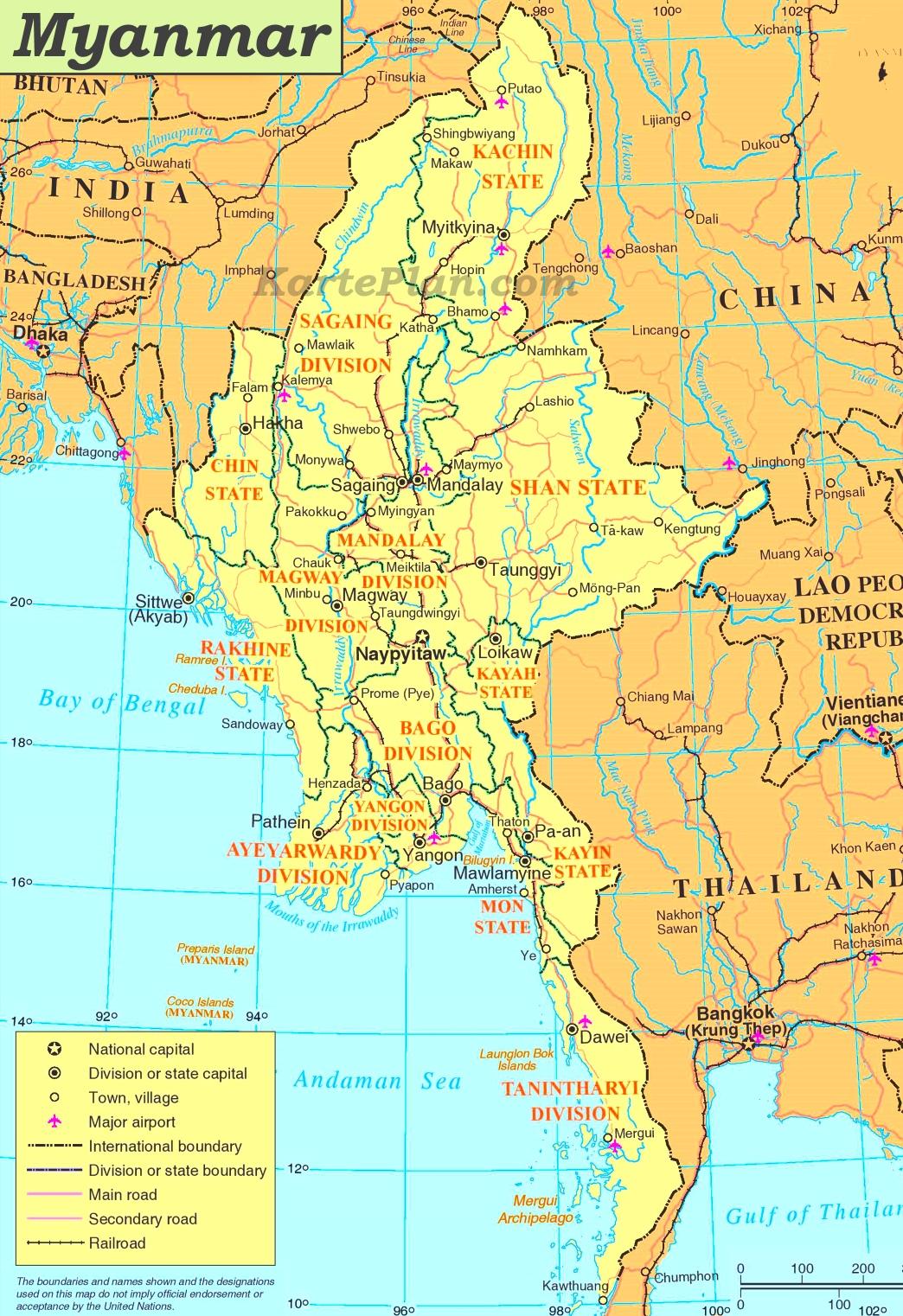 Karte Myanmar.Myanmar Politische Karte
