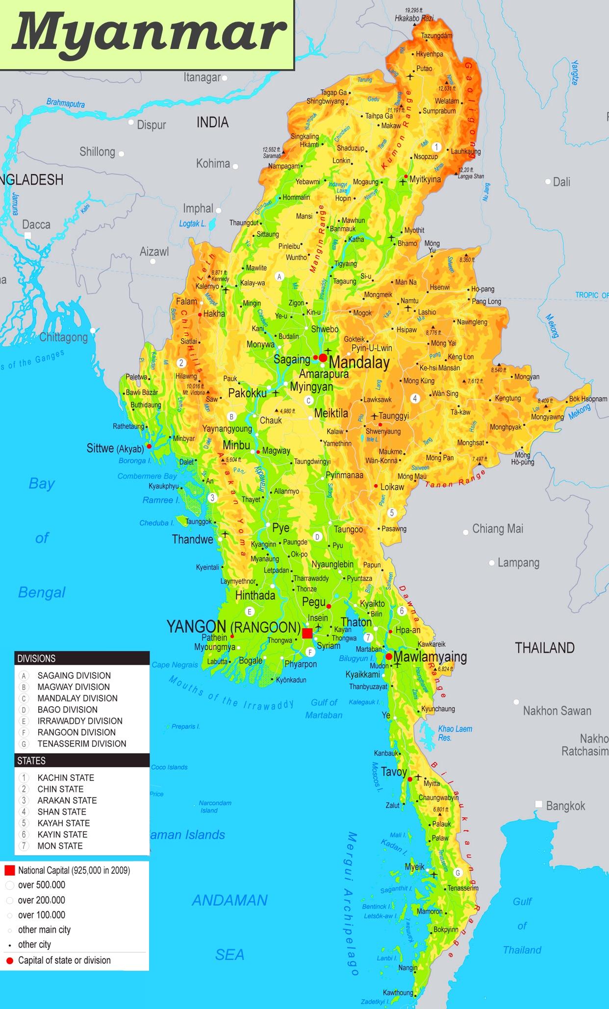 Physische Landkarte Von Myanmar