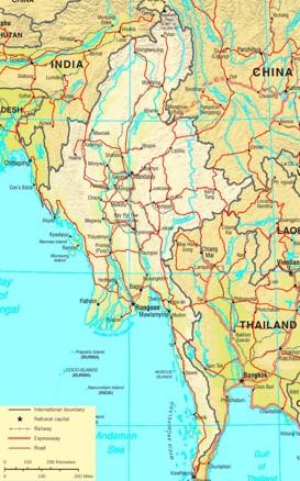 Straßenkarte von Myanmar