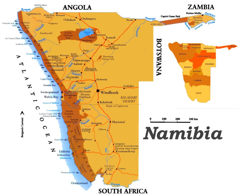 karte namibia Namibia touristische karte