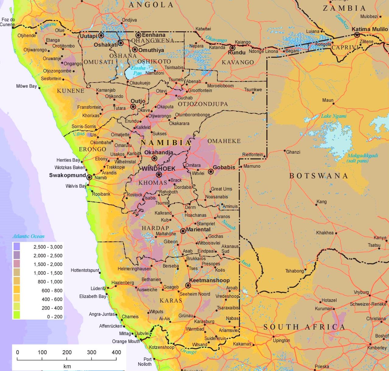 Physische Landkarte Von Namibia