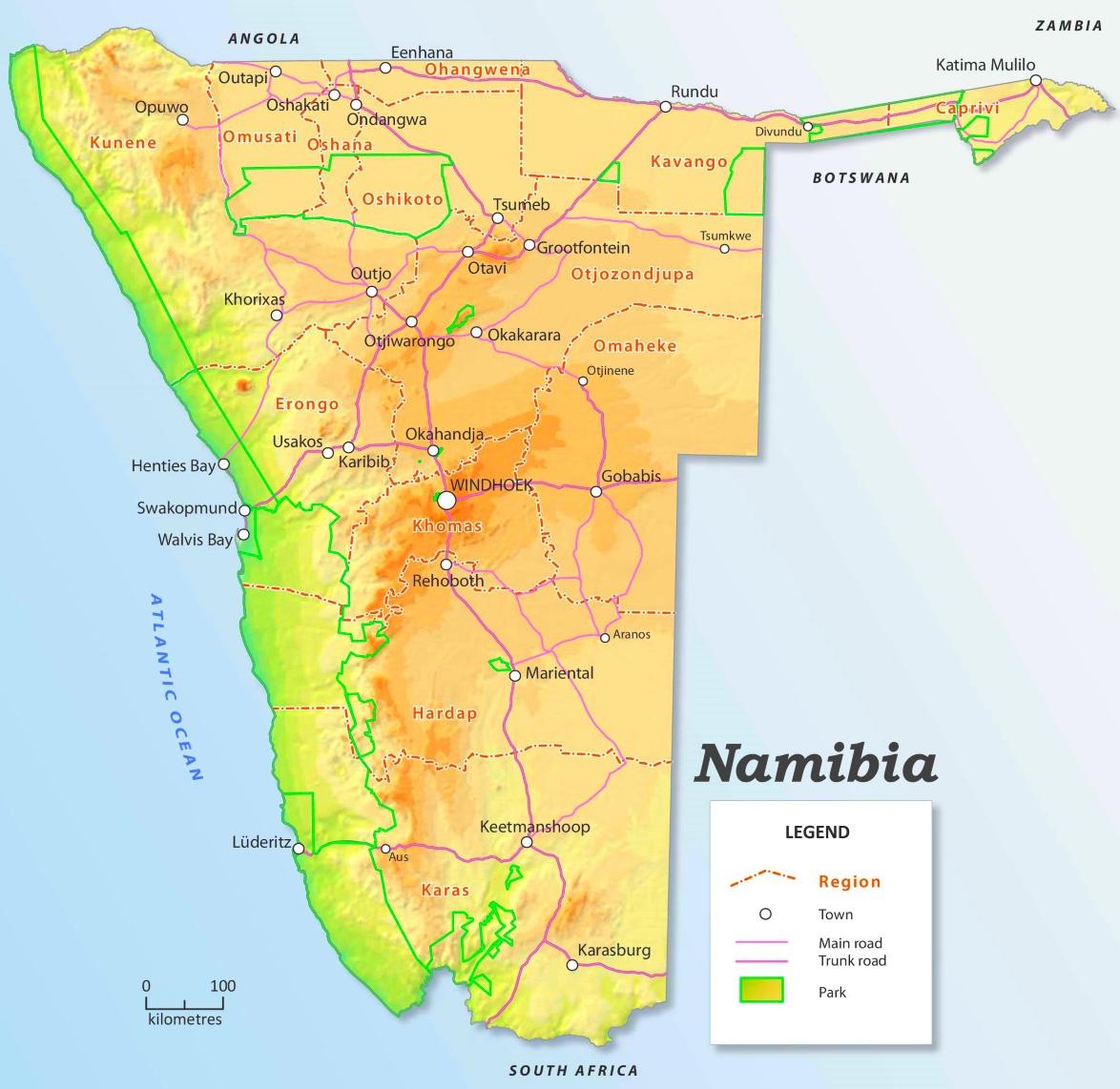 Strassenkarte Von Namibia