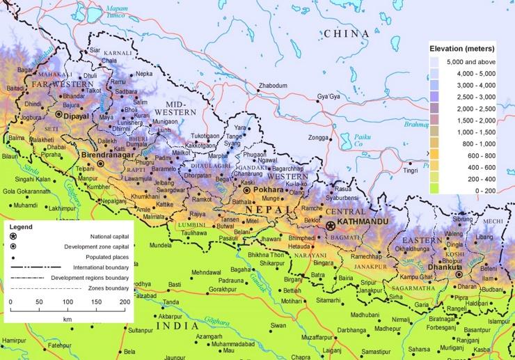 Physische landkarte von Nepal