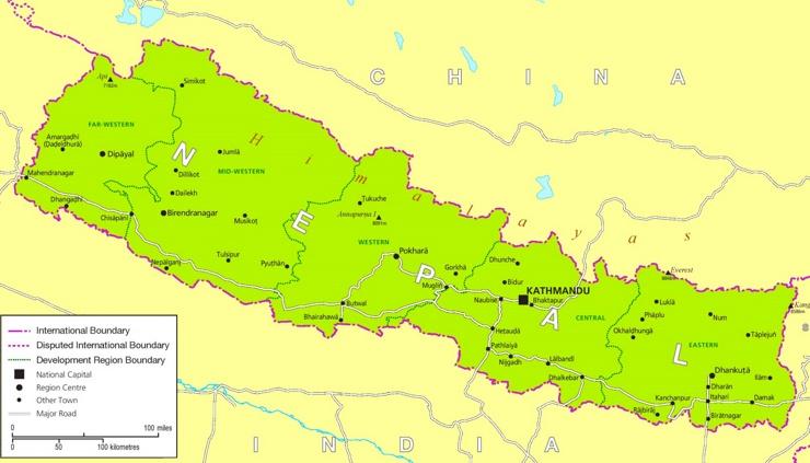 Straßenkarte von Nepal