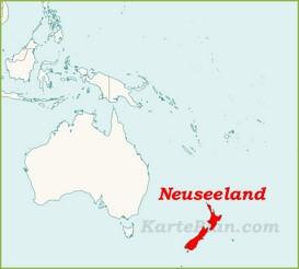 Neuseeland auf der karte Ozeaniens