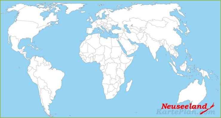 Neuseeland auf der Weltkarte