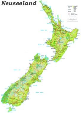 Straßenkarte von Neuseeland
