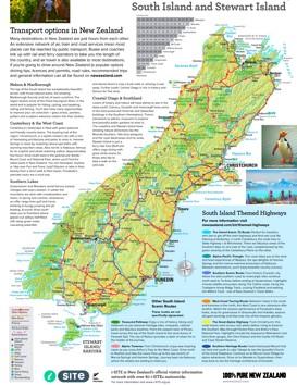 Südinsel (Neuseeland) touristische karte