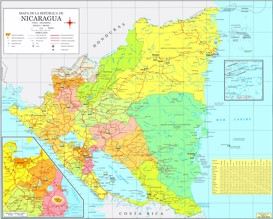 Große detaillierte karte von Nicaragua