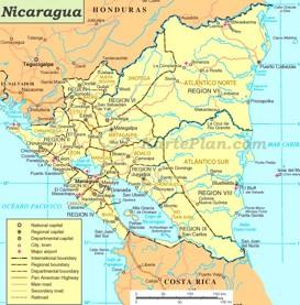 Nicaragua politische karte