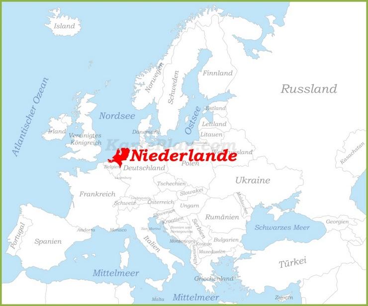 Niederlande auf der karte Europas
