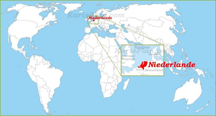 Niederlande auf der Weltkarte