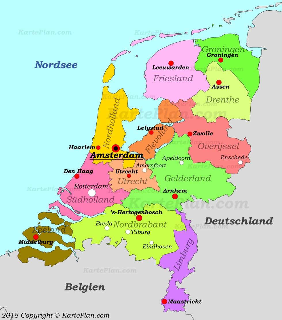 niederlande karte Niederlande politische karte