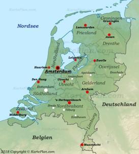 Physische landkarte von Niederlande