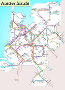Schienennetz karte von Niederlande