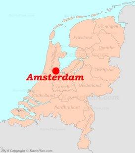 Amsterdam auf der Karte von Niederlande