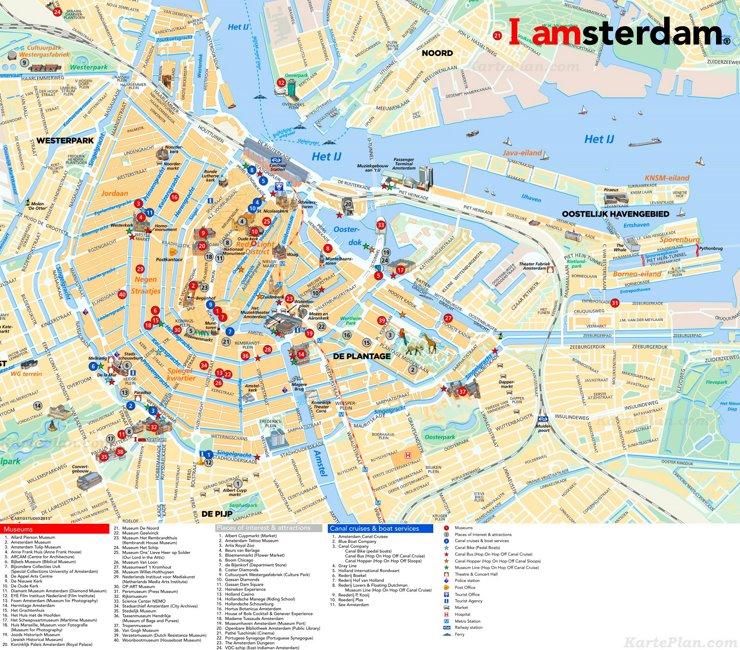 Stadtplan Amsterdam mit sehenswürdigkeiten