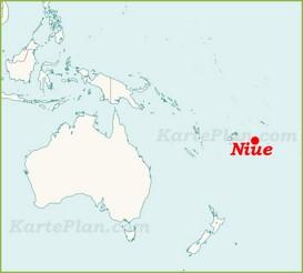 Niue auf der karte Ozeaniens