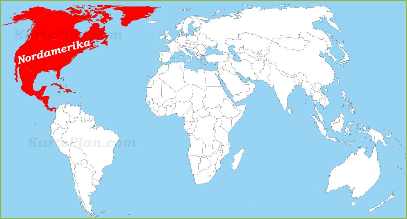 Nordamerika Auf Der Weltkarte