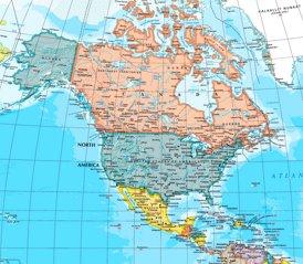 Nordamerika karte mit städten