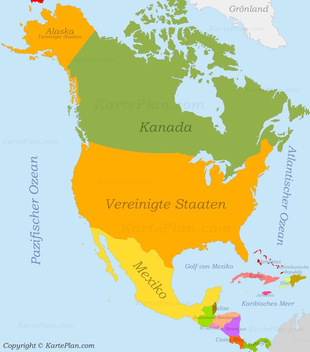 Nordamerika Politische Karte