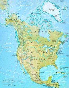 Physische landkarte von Nordamerika