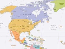 Politische Karte Nordamerikas mit den Hauptstädten