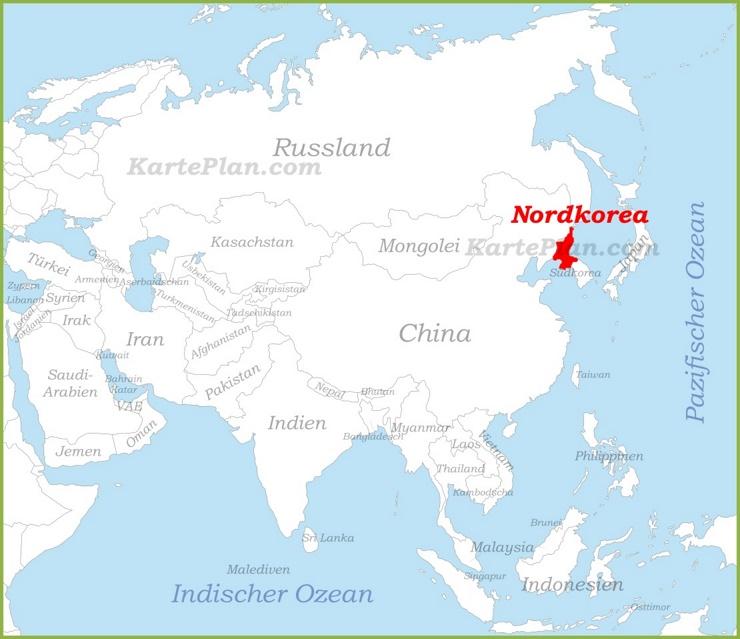 Nordkorea auf der karte Asiens