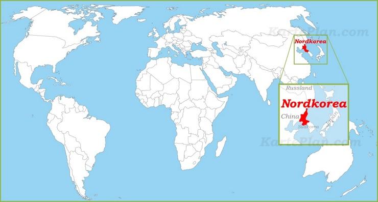 Nordkorea auf der Weltkarte