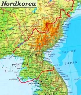 Nordkorea karte mit städten