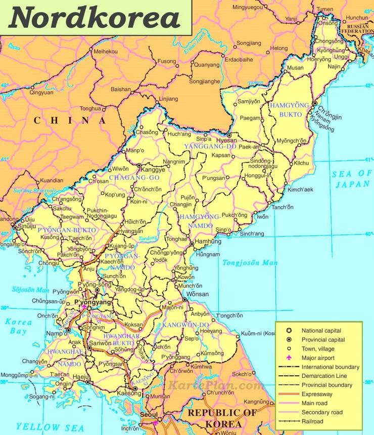 Nordkorea politische karte