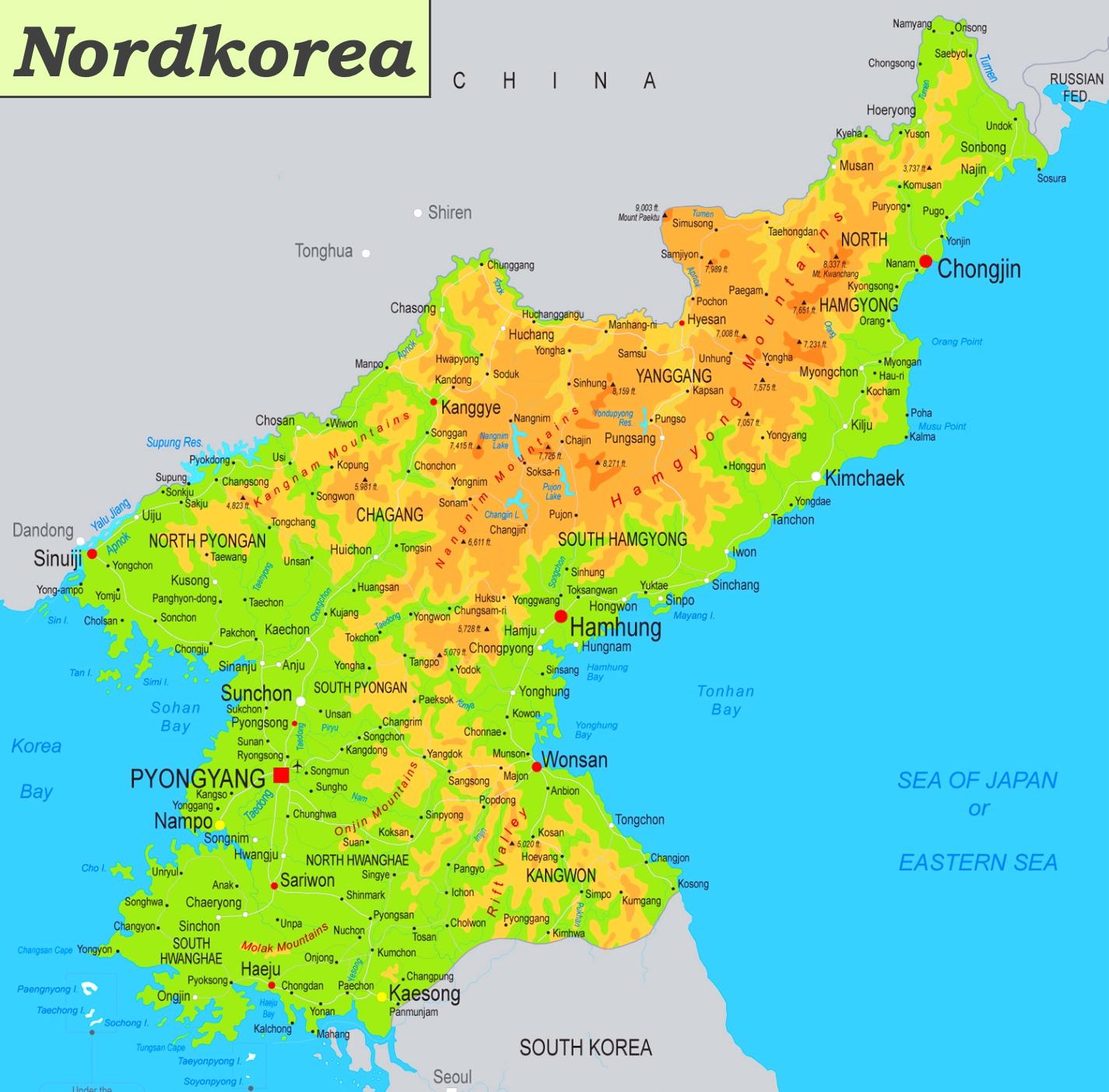 Physische Landkarte Von Nordkorea
