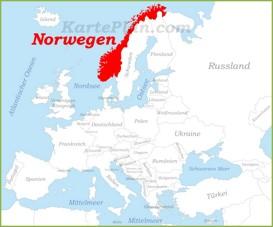 Norwegen auf der karte Europas
