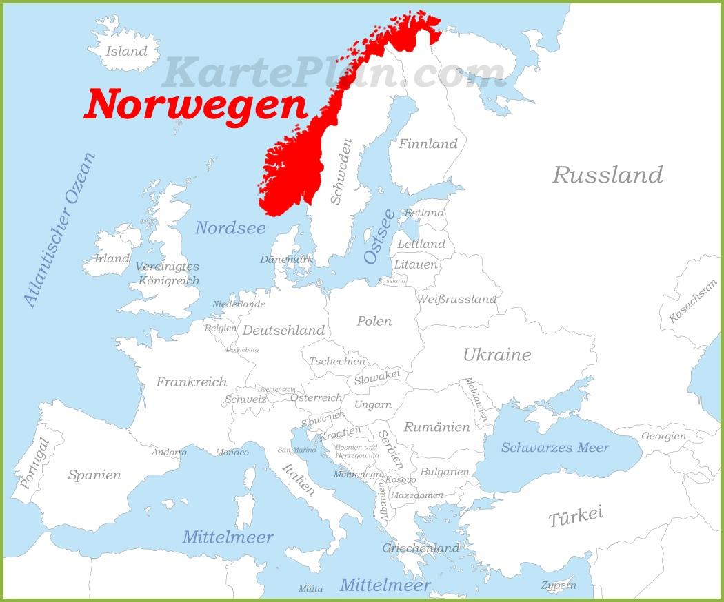 Karte Norwegen Dänemark.Norwegen Auf Der Karte Europas