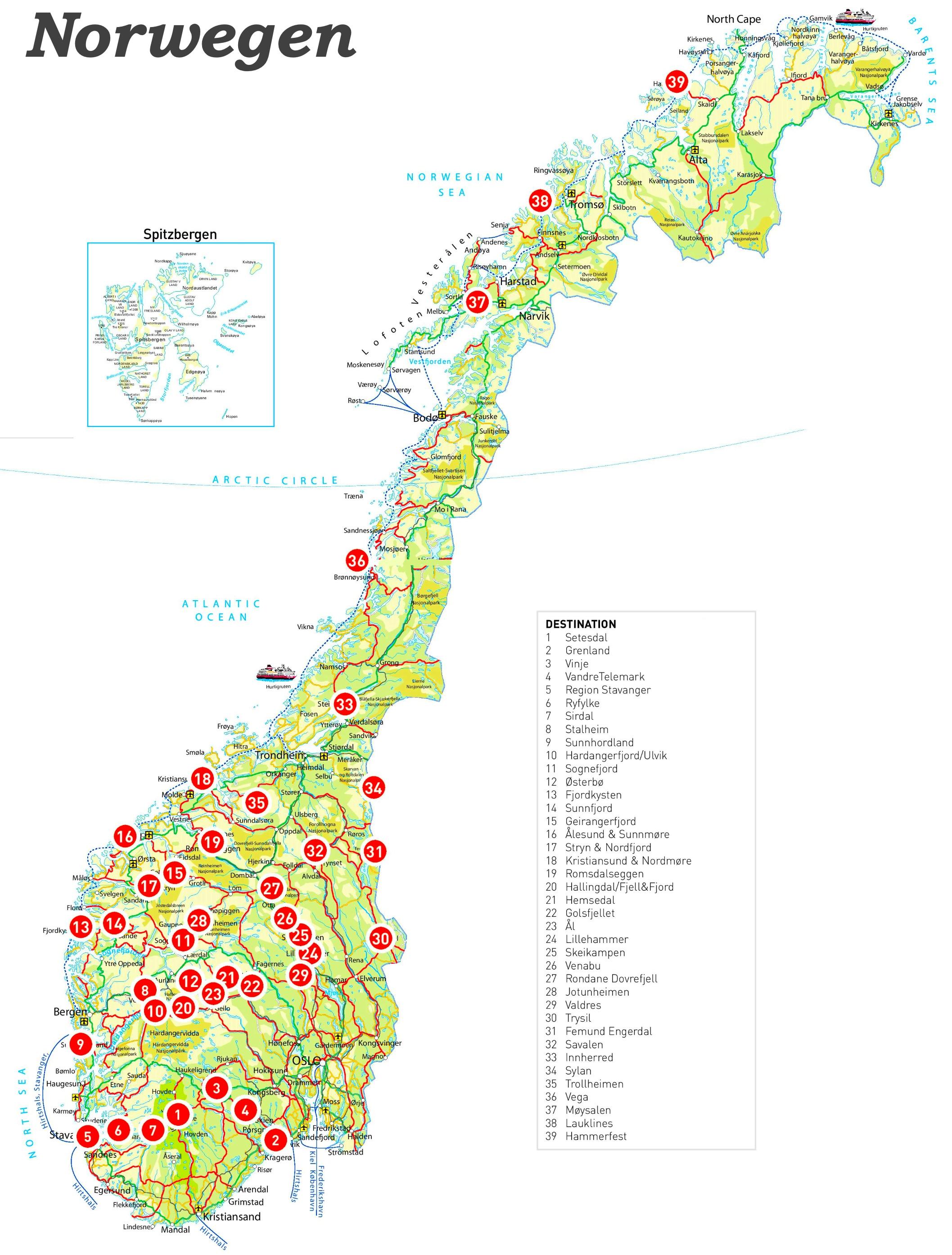 Karte Norwegen.Norwegen Touristische Karte