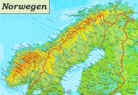 Physische landkarte von Norwegen