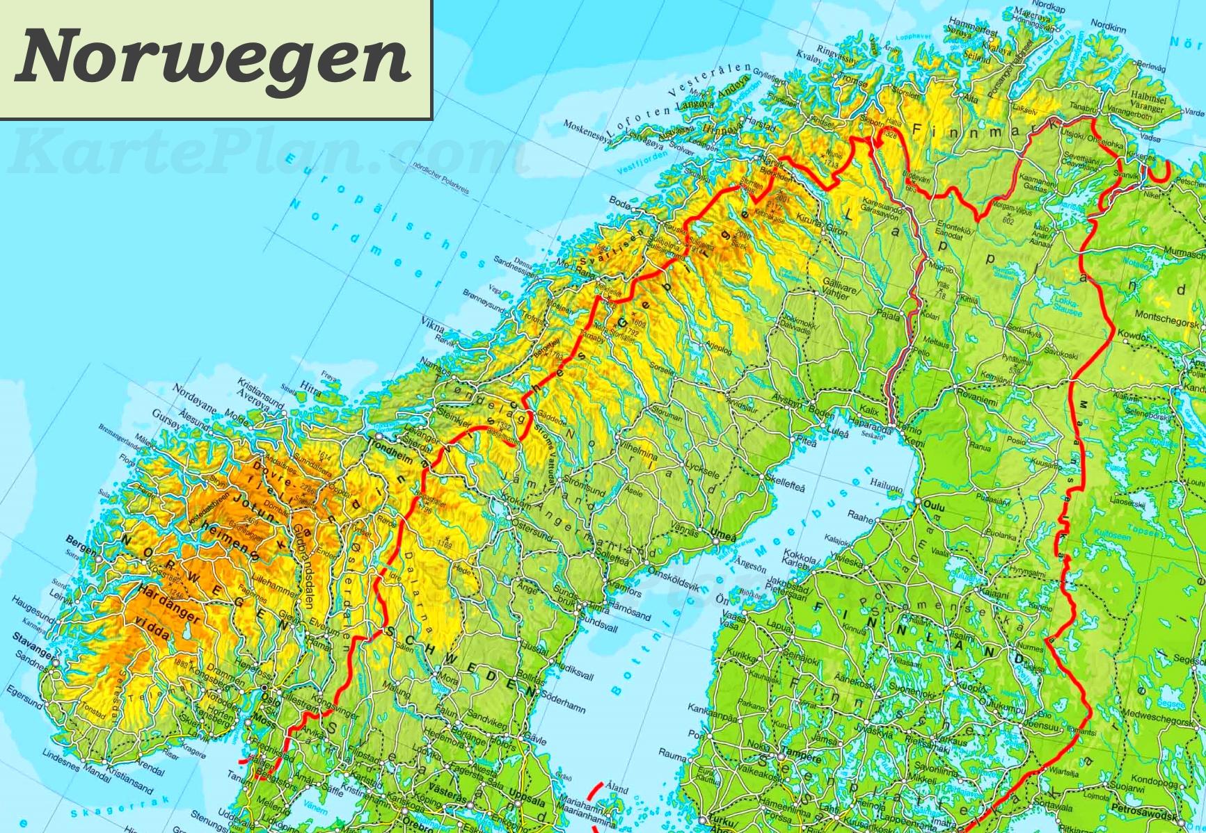 karte von norwegen Physische landkarte von Norwegen
