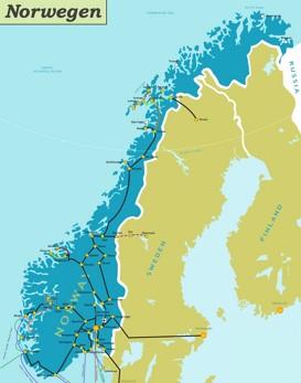 Schienennetz karte von Norwegen
