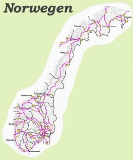 Straßenkarte von Norwegen