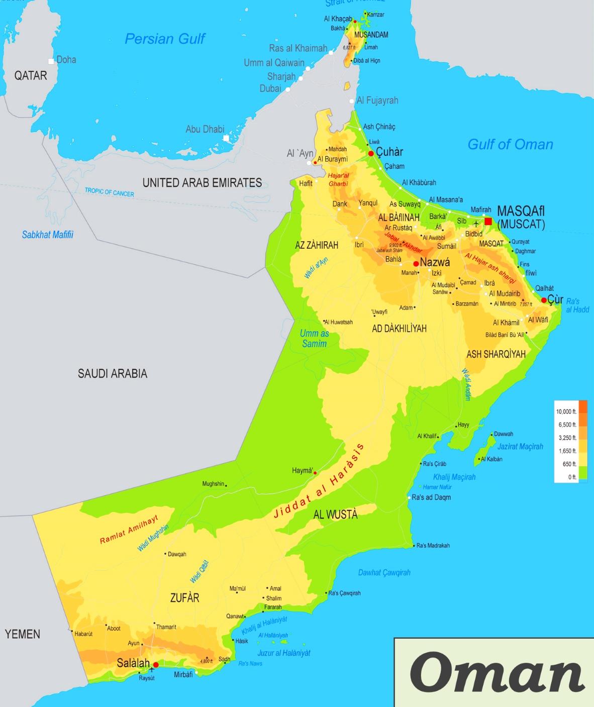 Karte Oman.Physische Landkarte Von Oman