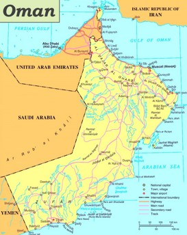 Straßenkarte von Oman