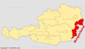 Burgenland auf der Österreich Karte