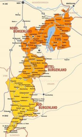 Burgenland karte mit städten