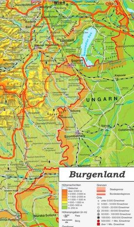 Detaillierte karte von Burgenland