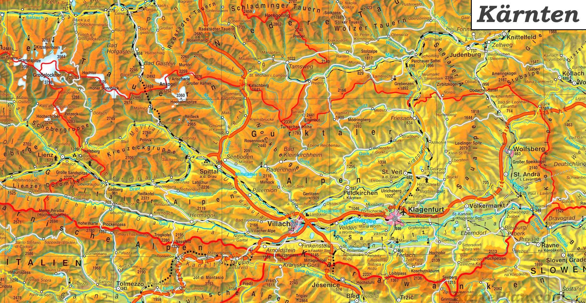 Detaillierte Karte Von Karnten