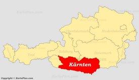 Kärnten auf der Österreich Karte