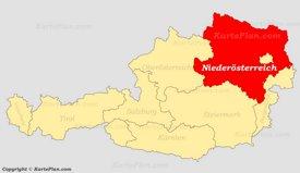 Niederösterreich auf der Österreich Karte