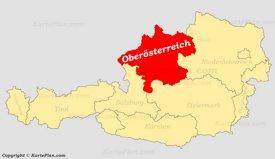 Oberösterreich auf der Österreich Karte
